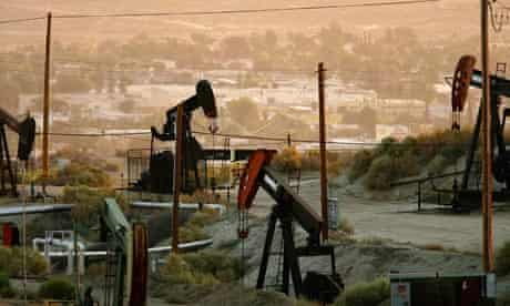 Oil rigs just south of town extract crude for Chevron, California