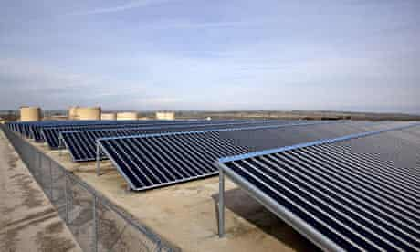 Solar panels are used to power Chevron Corp.'s operations in the Midway-Sunset oil field, California