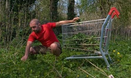 Mark Boyle, the moneyless man, collecting food