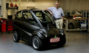 Formula one car designer Gordon Murray with the prototype of a new fuel-efficient T25 car