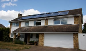 Superhome Green House in Welwyn village with solar panels on the roof