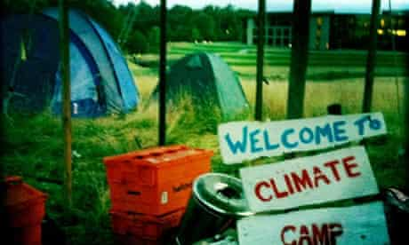 Climate Camp activists set camp on the ground of RBS headquaters at Gogarburn, Scotland