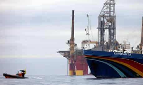 The Greenpeace Protest Ship Esperanza is in a stand off with a Danish warship, Greenland