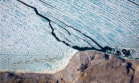 An ice island broke off from the Petermann Glacier, Greenland, Arctic