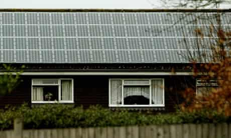 Photovoltaic solar panels on the roof of Broadway House in Woking