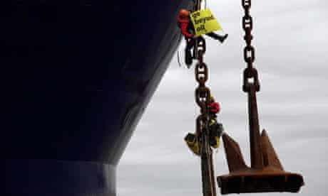 Greenpeace activists try to stop Stena Carron ship drilling exploratory oil well, Shetland Islands