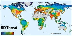 Map of global Tthreats to river biodiversity produced by River Threat