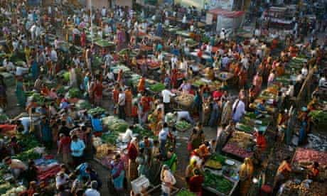 MDG: Food crisis : Customers shop at  market in the western Indian city of Ahmedabad