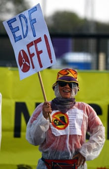 A protester at Hinkley Point.
