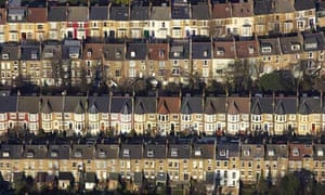 Damian blog in Manchester : Aerial view of terraces of houses in London