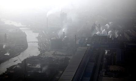 Pollution haze over Huaxi in Jiangsu province, China