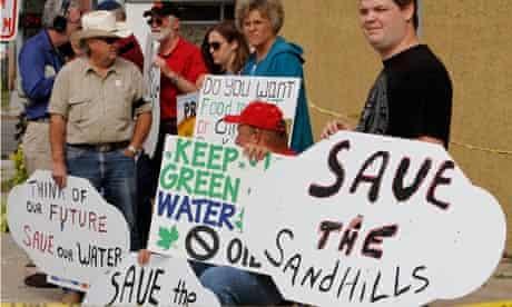 Demonstrators against the proposed TransCanada Keystone XL pipeline in Nebraska