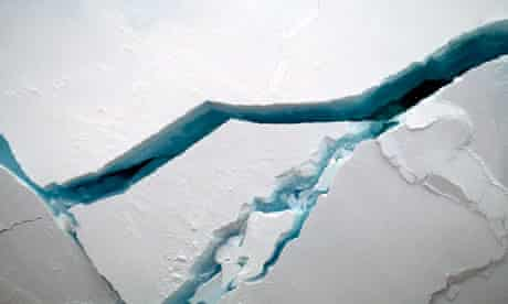 Multi year ice cracks before the prow of icebreaker in The Arctic