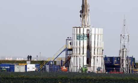Fracking protest : Protestors scale a shale gas rig at Banks near Southport