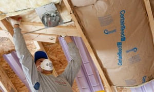 Green Deal :  insulation inside a home being installed