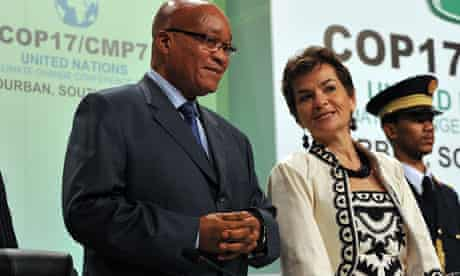 Durban COP17 : South Africa President Jacob Zuma and UN climate chief Christiana Figueres