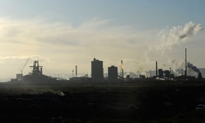 Damian blog : Chimneys and steel mill furnaces of the Tata Steel facility in Redcar, Middlesbrough,