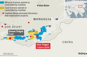 Mongolia mines map