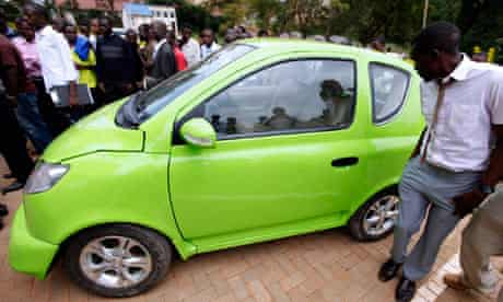 The Kiira EV car made by Makerere University Uganda's capital Kampala