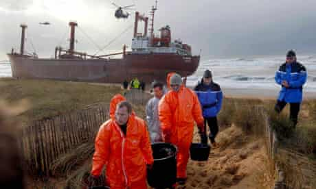 TK Bremen cargo ship aground, spilling oil off the coast of Brittany, France