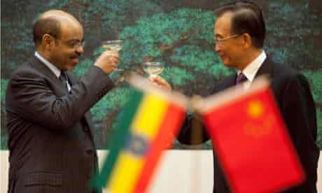 MDG : China in Ethiopia : Ethiopian Prime Minister Meles Zenawi and Chinese Premier Wen Jiabao