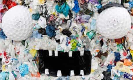 Slovenian artist Artnak's Plastic Bag Monster in Brussels