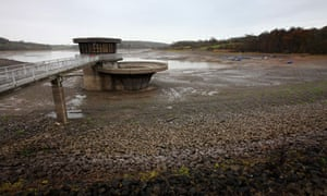 Drought warning : empty Ardingly Resevoir in Ardingly, West Sussex