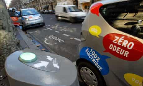 Autolib  electric car-share scheme is seen on a street in Paris