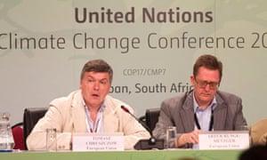 COP17 In Durban : Poland Tomasz Chruszczow and EU Climate Negotiator Artur Runge-Metzenger