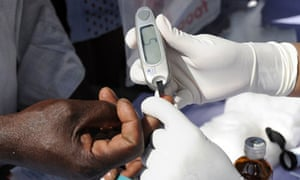 MDG: a glucometer at a free Diabetic health check up camp in Hyderabad