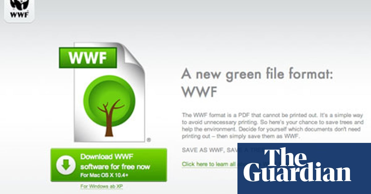 WWF launches PDF-like file format that can't be printed