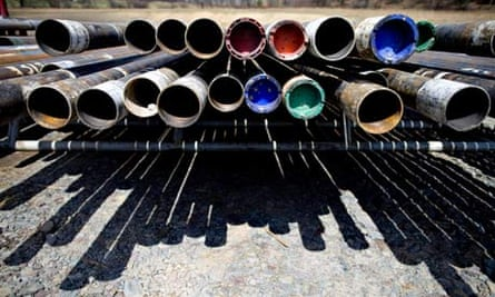 Shale Gas : drill pipe sits near a natural gas drilling rig Pennsylvania