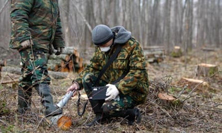 Chernobyl : radiation dosage rate of working clothes in the state radiation ecology reserve