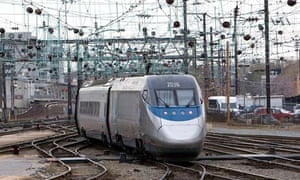 An Amtrak Acela high-speed train pulls away from Union Station in Washington