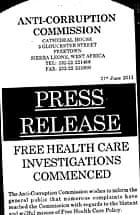 MDG : Sierra Leone Free Health Care Investigations by Anti corruption Commission