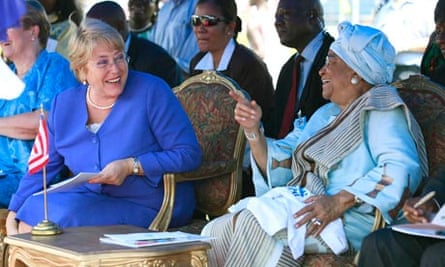 MDG : UN Women Michelle Bachelet with President Ellen Johnson Sirleaf of Liberia
