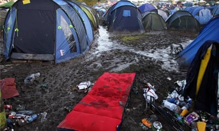 Tents left by Music Fans in The Glastonbury Festival