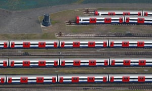 Damian blog : Aerial view of London Underground tube trains