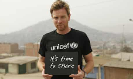 MDG : UNICEF handout photo of actor Ewan McGregor backing an appeal in aid of starving children