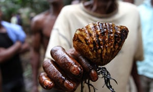 A man holds a shell coated in oil  in Ogoniland in Nigeria delta region