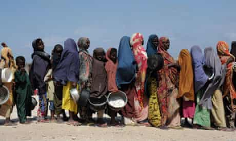 Famine in Horn of Africa : food distribution point in Somalia's capital Mogadishu