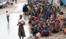 Famine in Horn of Africa : Food distribution centre at Badbaado settlement camp, Mogadishu, Somalia