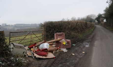 Fly-tipping site in the British Countryside