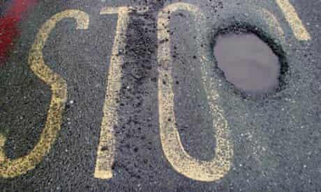 Bike Blog : Large pothole due to adverse freezing conditions