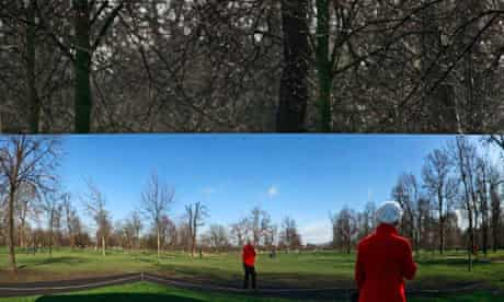 Earth population reaching seven billion : A woman is reflected in Anish Kapoor's sculpture , London