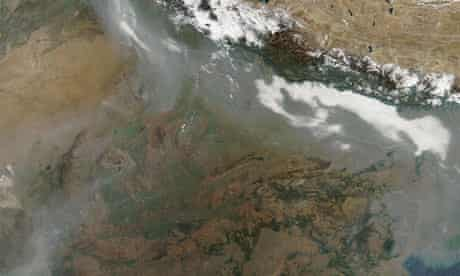 Damian blog on black carbon pollution : satellite image of soot over Northern India