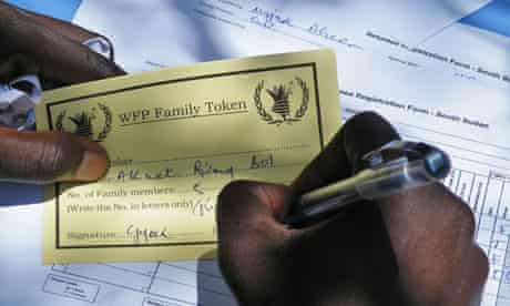 MDG : South Sudan Aid : WFP food tokens distributed by IOM at Turalei