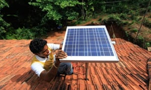 Solar power off the grid : solar panel on the rooftop being installed in India