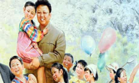 painting featuring North Korean leader Kim Jong Il with young girls