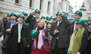Stop Climate Chaos coalition protest outside the treasury for green job